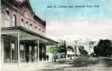 Main Street American Fork, Utah, Looking toward Mount Timpanogos. Chipman's Mercantile, circa 1912