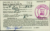 Form, Receipt from Hamilton, Montana post office of registered article no. 961, 1952