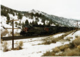 Southern Pacific train eastbound in Spanish Fork Canyon, Utah.