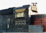 Close-up of cab detail on Southern Pacific No. 9333