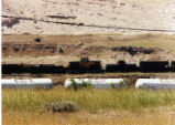 Electric locomotive sitting on Kennecott Copper property.