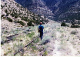 Carbon County Railway at the switches where the Horse Canyon load out was located, William Marsh in photo.