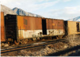 Rio Grande Boxcar in storage at Ironton Columbia Steel mill.