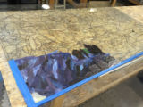Step 07: Layout of raw glass for Panel K-2 , raw glass pieces laid out on the pattern drawn on...