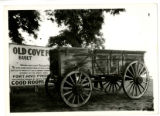 Wooden Wagon in Front of Cove Fort Sign