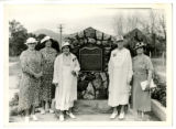 Five women in front of Fort Fillmore DUP marker