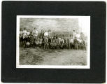 School Class in Front of Brick Building