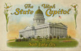 Postcard of Utah State Capitol Building in Salt Lake City, Utah, bordered with sego lilies.