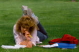 Studying on grass