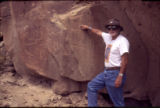 Rock Art - Von Del Chamberlain pointing out Dilyéhé